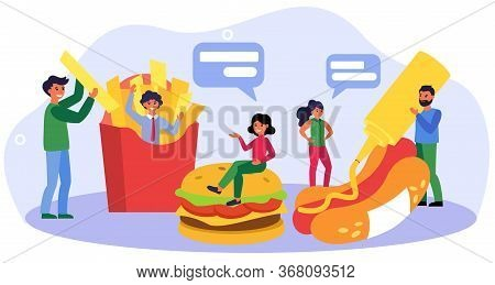 Happy People Meeting In Fast Food Restaurant. Cooking Hotdog, French Fries, Cheeseburger Flat Vector
