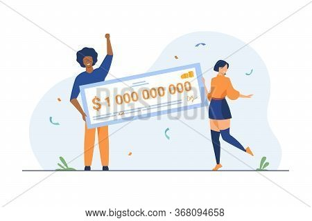 Happy Girl And Guy Winning Billion Of Cash, Getting Money Prize, Holding Bank Check. Flat Vector Ill