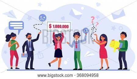 Happy Woman Winning Money Prize. Winner And Losers, Competitors, Rivals Flat Vector Illustration. Co