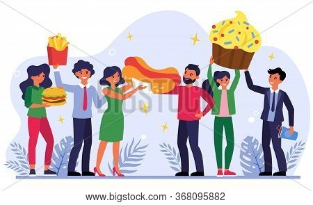Team Celebrating Success With Fast Food. Happy People Holding Hotdog, Cupcake, Burger Flat Vector Il