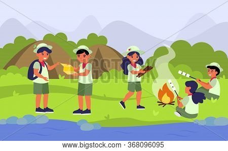 Scouts In Camping Flat Vector Illustration. Cartoon Children Or Kids At Fire In Forest, Mountain Or