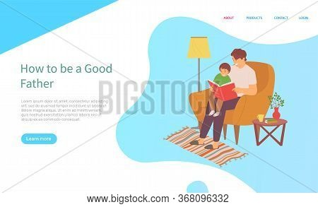 Father Sitting With Son On Sofa And Reading Book, Father Caring And Education Of Child, Family On So