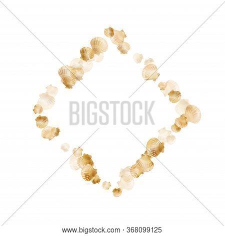Gold Seashells Vector, Golden Pearl Bivalved Mollusks. Cartoon Scallop, Bivalve Pearl Shell, Marine