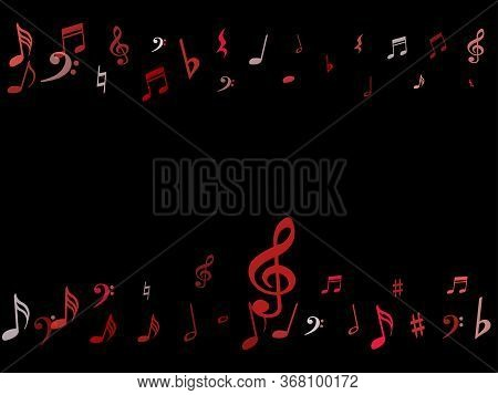Pink Flying Musical Notes Isolated On Black Backdrop. Cute Musical Notation Symphony Signs, Notes Fo