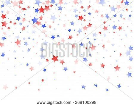 American Independence Day Stars Background. Confetti In Usa Flag Colors For Independence Day.  Trend