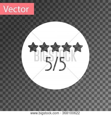 White Consumer Or Customer Product Rating Icon Isolated On Transparent Background. Vector Illustrati