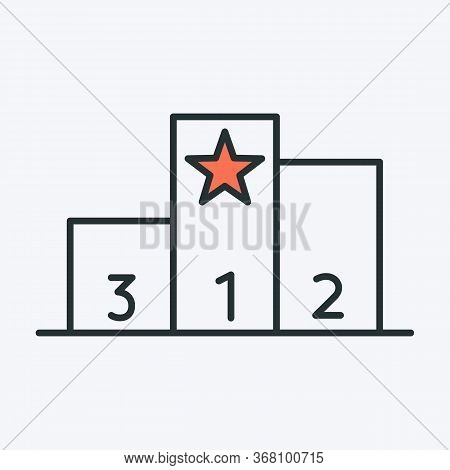 Winner Podium Icon. Vector Illustration Of A Podium Stage With 3 Places And Number On Each Stage And