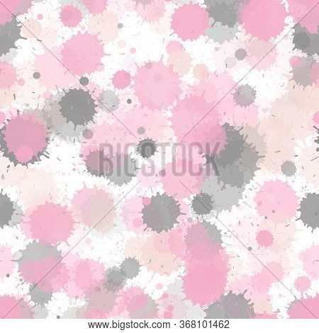 Watercolor Transparent Stains Vector Seamless Wallpaper Pattern. Colored Ink Splatter, Spray Blots,