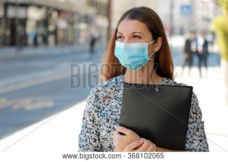Covid-19 Global Economic Crisis Unemployed Girl Medical Mask Looking For A Job Walking In City Stree