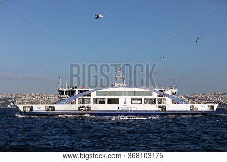 Izmir, Turkey, May 20, 2020 - Izmir Car Transport Ferry On Its Way To Bostanli Pier In Izmir.