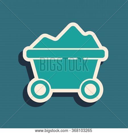 Green Coal Mine Trolley Icon Isolated On Green Background. Factory Coal Mine Trolley. Long Shadow St