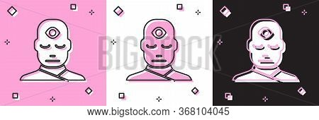 Set Man With Third Eye Icon Isolated On Pink And White, Black Background. The Concept Of Meditation,