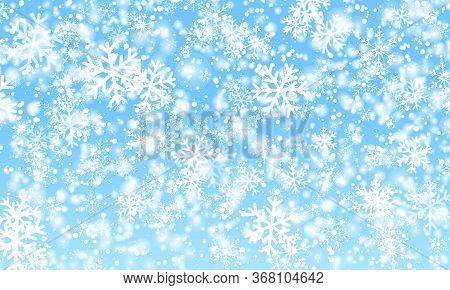 Snow Background. Vector Illustration. Winter Snow. White Snowflakes On Blue Sky. Christmas Backgroun
