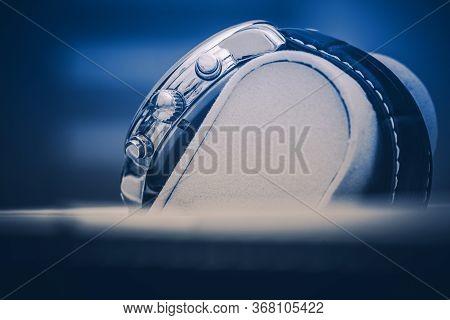 Timepiece Theme. Luxury Hand Watch Displayed In Elegant Box. Dark Blue Color Grading Light.