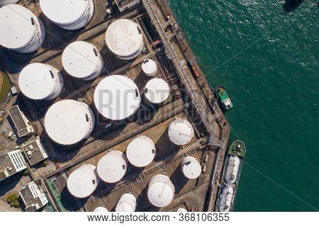 Tsing Yi, Hong Kong 04 December 2019: Top view Oil Tank