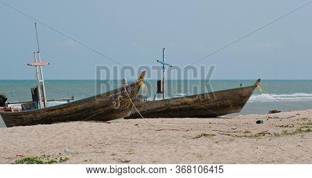 Hua Hin, Thailand, 28 March 2020: Hua Hin Beach