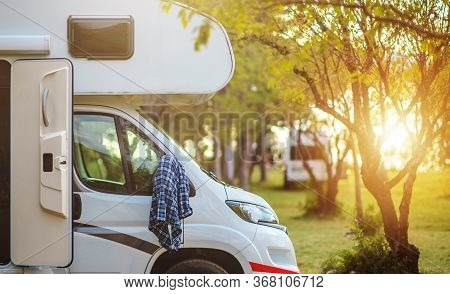 Recreational Vehicle Summer Road Trip Theme. Sunset Point Rv Park And The Camper Van. Summer Time Fu