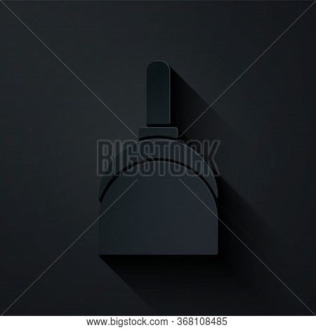 Paper Cut Dustpan Icon Isolated On Black Background. Cleaning Scoop Services. Paper Art Style. Vecto
