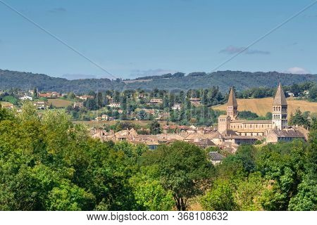 French Town Tournus In Summer Landscape. Panoramic View Of Old Town And Abbey Of Tournus In Region B