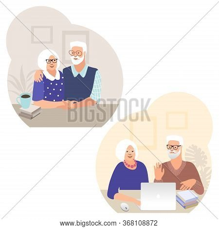 Set Of Senior Couples. Happy Seniors Spend Time Together. Old People With Computer.