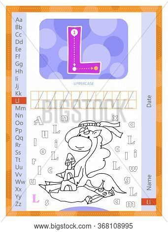 Letter L And Funny Cartoon Hand Drawn Unicorn. Alphabet A-z. Coloring Page. Printable Worksheet. Han