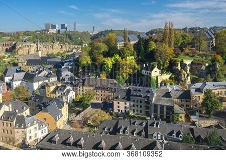 Luxembourg City, Capital Of Grand Duchy Of Luxembourg, Downtown View Of Luxembourg, Town Of European