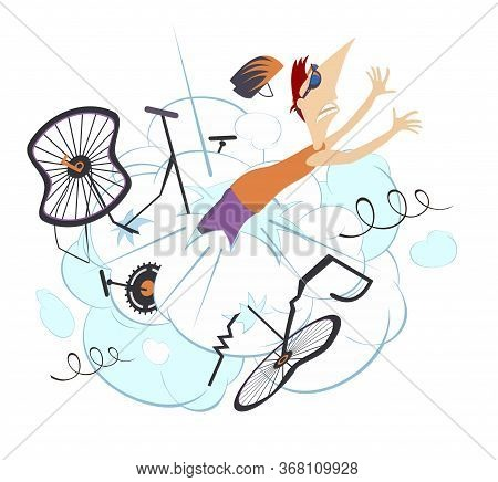 Cyclist Man Falling Down From The Bicycle Isolated Illustration. Cyclist Man Falling Down From The B