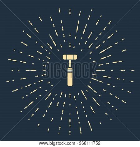 Beige Neurology Reflex Hammer Icon Isolated On Blue Background. Abstract Circle Random Dots. Vector
