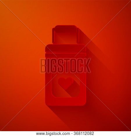 Paper Cut Cooler Box For Human Organs Transportation Icon Isolated On Red Background. Organ Transpla