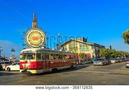 San Francisco, California, United States - August 14, 2016: Vintage Cable Car From Embarcadero To Fi