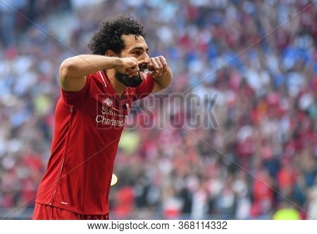 Madrid, Spain - June 1, 2019: Mohamed Salah Of Liverpool Celebrates After He Scored From The Penalty