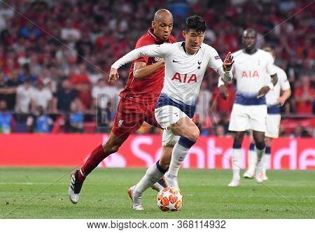 Madrid, Spain - June 1, 2019: Fabio Henrique Tavares (fabinho) Of Liverpool (back And Heung-min Son