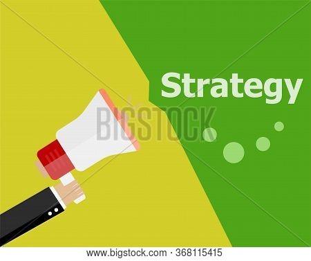 Flat Design Business Concept. Strategy. Digital Marketing Business Man Holding Megaphone For Website