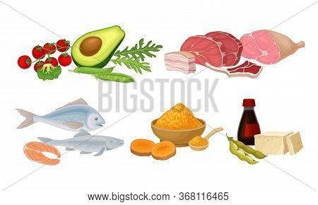 Food Compositions With Fish, Meat And Vegetables As Source Of Vitamins Vector Set