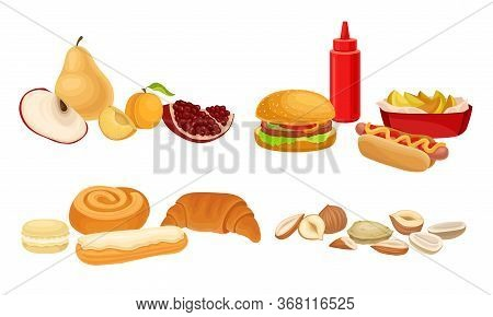 Food Compositions With Sugary Dessert, Fruits And Fast Food As Harmful And Healthy Nutrition Vector