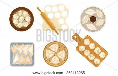 Cooked Dumplings Rested On Plate And Rolling Pin Rolling Out Pastry Vector Set