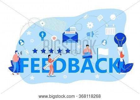Feedback Concept Vector. User Are Giving Five Star Feedback. Clients Choose Best Rating. People Writ