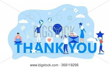 Thank You Concept Vector. Tiny People Thank You For Help. Clients Evaluate The Service, Give Rate. L