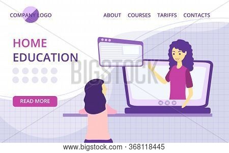 Online Courses Lesson Website Homepage Vector Illustration Flat Person Learn Virtual Concept Knowled