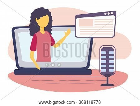 Podcast Vector Illustration. Flat E-radio Talk Show, Discussion And Interview Persons Concept. Virtu