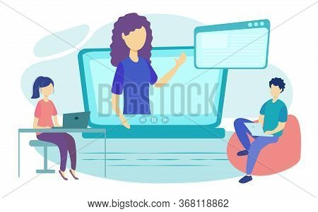Online Courses Vector Illustration. Flat Person Learn Virtual Concept. Modern Knowledge Development