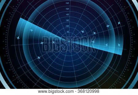 Abstract Background Of Futuristic Technology Screen Scan Flight Radar Airplane Route Path With Scan
