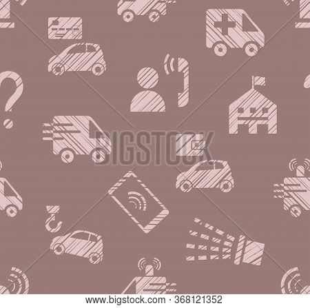 Emergency Service, Seamless Pattern, Color, Hatching, Rose Gray, Vector. Emergency Medical And Fire