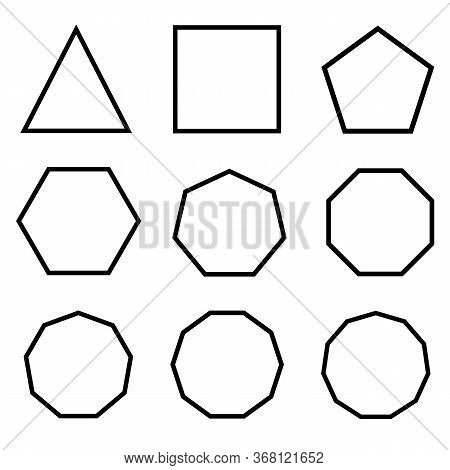 Symbol Triangle, Rectangle, Pentagon, Hexagon, Hexagon, Octagon. Hexagon Icon Polygon Shapes.