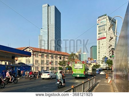 Ho Chi Minh City, Vietnam - February 9, 2019: Cityscape Of Ho Chi Minh City. Busy Traffic In The Cit