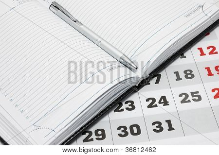 Calendar And Diary With Pen