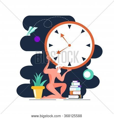 Atlante Sculpture Holds Watch. Side View. Color Vector Flat Cartoon Illustration. Concept Of Time Ma