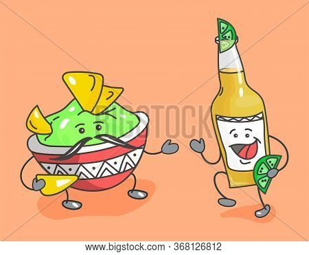 Nachos Chips With Guacamole In Pan - Mexican Traditional Food. Bottle Beer With Lime. Vector Flat Ca