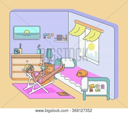 Woman Sunbathing On A Beach Chair In The Room Imagines That He Is Resting On The Sea. Side View. Col
