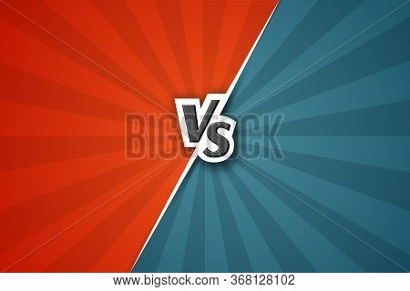 Versus Vs Background Letters Vs On A Red And Blue Background Of Lines Rays Blank Template Background